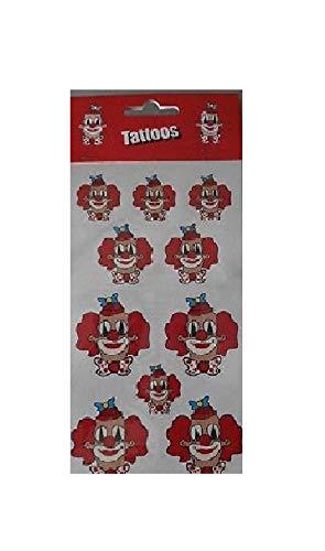 narrenkiste Ma223755 - Tatuajes de cabeza de payaso, color rojo y blanco