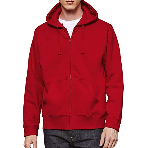 Adults Mens Womens Full Zip Hoody Hoodie Hooded Brushed Fleece Sweatshirt Jumper, Red, L (Chest 41 43UK 16)