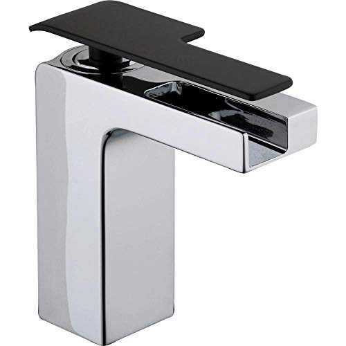 Glacier Bay Femke Single Hole Single-Handle Low-Arc Bathroom Faucet in Chrome and Matte Black