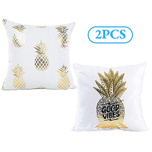 Monkeysell Pineapple Pattern Bronzing White and Gold Throw Pillow Cover Cushion (2Pcs-White Pineapple)