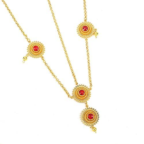 Etiopía Trendy Red Green Blue Rhinestone Hair Chain 24K Gold Color Jewelry Accesorios para el cabello para mujeres-Blue