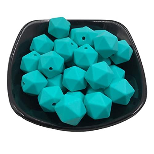 Coskiss 25 piezas 17mm DIY mordedor juguetes geométricos cuentas de silicona poligonales para collar de enfermería accesorio de pulsera (1)