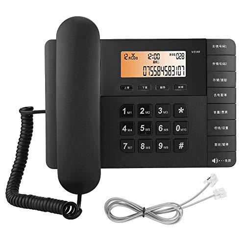 Socobeta Teléfono Fijo inalámbrico para el hogar Teléfono Comercial con función de Almacenamiento de números y función de apreciación de música para la recepción del Hotel de Negocios de(Negro)