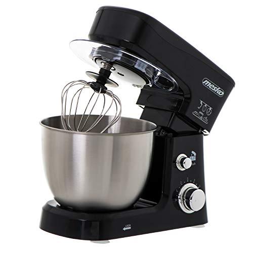 Mesko MS4217 Robot Cocina Batidora Amasadora Repostería, Recipiente Acero Inoxidable de 3,5 l, 6 Velocidades, Gancho para Amasar, Varilla Mezcladora, 1200 W