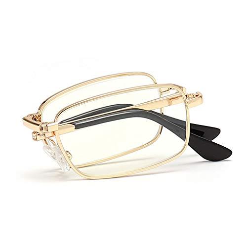 HKD Faltbar Metall Rahmen Lesebrillen Männer Frauen Universal Anti-Blaulicht Anti-Ermüdungs Klappbrille Tragbar (Color : Gold, Size : +1.50)