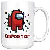 DJNGN Am-on-g U-s Im-po-stor Taza de café Sus Meme Am-on-g U-s Game Imposter Merch Taza de café de cerámica blanca/taza de té (15 oz)