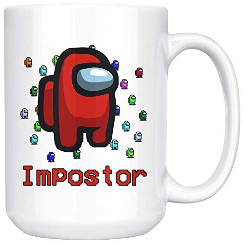 DJNGN Am-on-g U-s Im-po-stor Taza de café Sus Meme Am-on-g U-s Game Imposter Merch Taza de café de cerámica blanca/taza de té (15 oz)