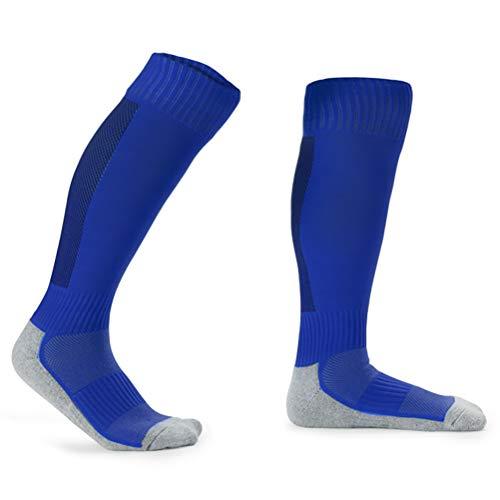 Kinderfußball Socken Handtuchboden Verdickung Frottee Sportsocken Dochtwirkung atmungsaktive Strümpfe 3 Paare,white+orange+blue