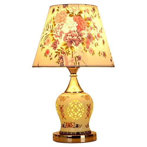 Lámparas de mesa de esmalte de porcelana hueca de cerámica con pantalla de arte calicó europeo iluminación luces de noche para dormitorio de boda atenuación