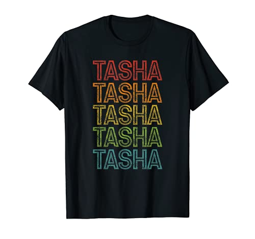 Tasha Primer Nombre Retro Grunge Color Vintage Camiseta