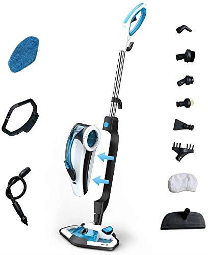 Fagor Escoba a Vapor Doble Función Mopa y Limpiador de alfombras, Suelos, Cristales, cocinas, 10 En 1, Calentamiento 15-20 Seg, Azul y blanco