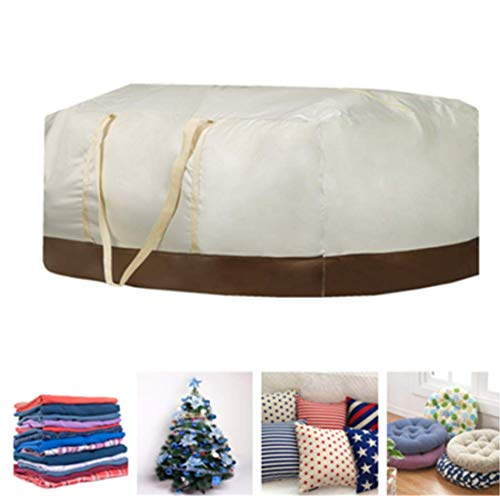 boyspringg Patio Cushion Storage Bag Extra Large 420D Oxford Fabric Waterproof Dust Proof Outdoor Zippered Christmas Tree Storage Bags 60' L x 28' W x 20' H (Beige)