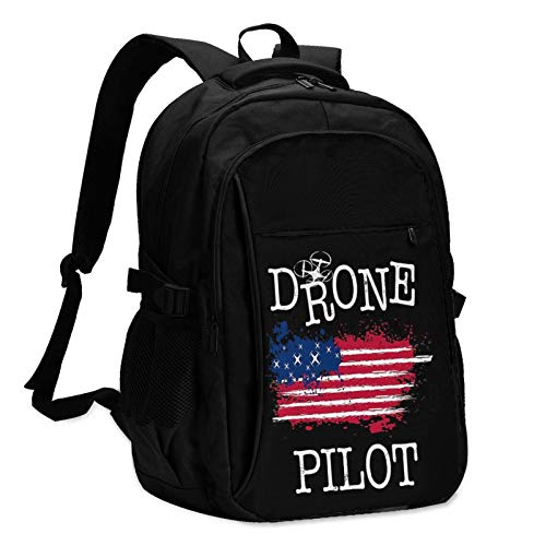 Drone Pilot Usa Flag Mans Women Children Personalized Backpack Bag With Usb Charging Port Casual Business Backpack