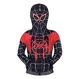 Garçons Spiderman Sweat À Capuche Cosplay Costume Zipper Pull Manteau Hoodie Tops Cadeaux pour Enfants, Spiderman Hoodie Noir, 140 / 7-8 ans