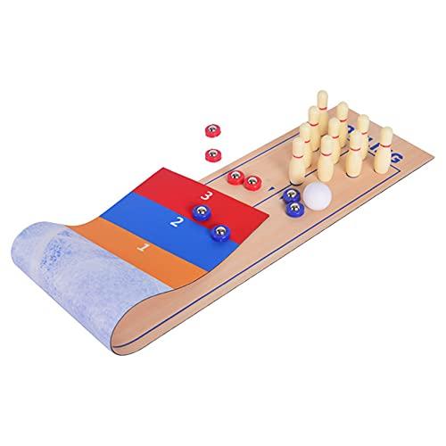 JJyy Shuffleboard and Curling 3 en 1 juego de mesa mini mesa de bolos juego ideal para diversión familiar