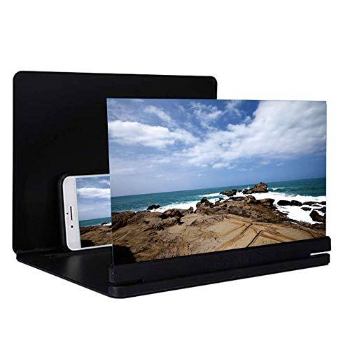 Screen Magnifier, 3D-Phone Screen Magnifier Hd Stereoscopic mobiele telefoon scherm versterker met opvouwbare houtnerf staan-houder voor alle smartphone, display met vergroting, grootte: 21 inch