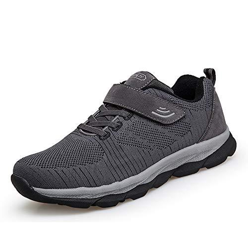 [ZUBOK] スニーカー メンズ レディース 介護シューズ 高齢者シューズ 安全靴 マジックテープ 外反母趾 通気性 柔軟性 メッシュ 中高齢者靴 (26cm, グレー)