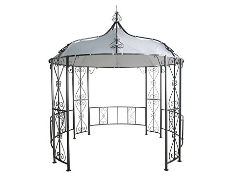DEGAMO Luxus Pavillon Burma 300cm rund, Stahlgestell + Dach wasserdicht Weiss