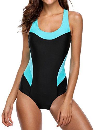 beautyin Women's One Piece Swimsuits Racing Training Sports Athletic Swimwear Black-aqua XX-Large