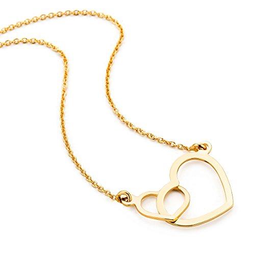 Orovi Collana - Pendente - Ciondolo Donna Cuore con Catena in Oro Giallo Oro 9 Kt / 375 Catenina Cm 45 Collana Prodotto in Italia