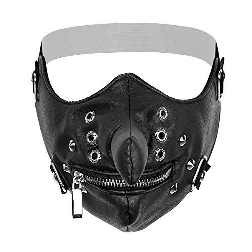 CHICTRY Schmuck Gotic Punk Motorrad Maske Sturmmaske Skimaske Tarnmaske Half Face Gesicht Maske Cosplay aus PU Leder, mit Reißverschluss Schwarz One Size