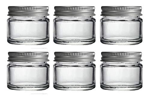 6 x Klein 15ml Durchsichtiges Glas Krüge/topft. Geeignet für Lip-balsam, Kräuter, Gewürze, Gesichtscreme, Salben & Kerzen