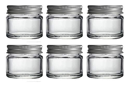 6 x tarros de cristal transparente pequeño 15 ml. Apropiado para bálsamo labial,...
