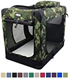 EliteField 3-Door Folding Soft Dog Crate, Indoor & Outdoor Pet Home, Multiple Sizes and Colors Available (36' L x 24' W x 28' H, Camo)