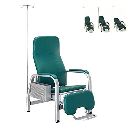 WSN Medizinischer Infusionsstuhl, Halbliegende und voll liegende einzelne, verstellbare Fußstütze mit Ablagefach und Infusionsständer