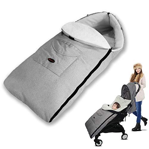 Saco Cochecito Bebe, 3 en 1 saco de Dormir del bebé Cochecito de Bebe Cubierta de pie Universal Invierno a Qrueba de Viento Mantener Caliente Miandian y Cálida Para Niños y Niñas (Gris)