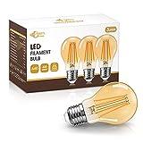 Bombilla LED E27 Vintage de 8 W, DORESshop Bombilla de tornillo Edison de vidrio ámbar, Bombilla de filamento clásica E27 Edison, equivalente a 80 W, 800 lm, no regulable, paquete de 3