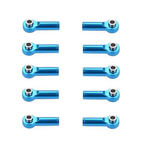 MaNMaNing 10 Stücke Legierung M4 Link Spurstangenkopf Kugelgelenk Kompatibel mit 1/10 TRX-4 SCX10 RC Buggy Auto (Blau, 25 x 3 mm)