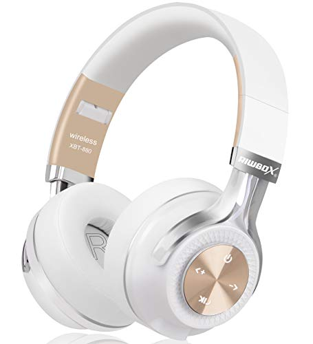 Bluetooth Headphones, Riwbox XBT-880 Wireless Bluetooth Headphones Over Ear with Microphone and Volume Control Wireless and Wired Foldable Headset for iPhone/iPad/PC/Cell Phones/TV (White&Gold)