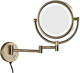 LED Makeup Vanity Mirror, Two-Sided Wall Mounted Beauty Mirror 360° Swivel Bathroom Mirror Extendable Cosmetic Mirror 8inch,Black_3X,Bathroom