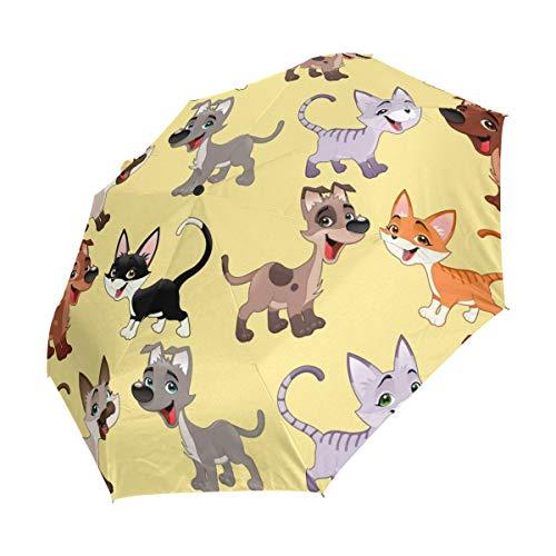Ahomy Winddichter Reise-Regenschirm mit lustigem Katzen- und Hundeschirm, automatisches Öffnen, rutschfester Griff und Schutzhülle