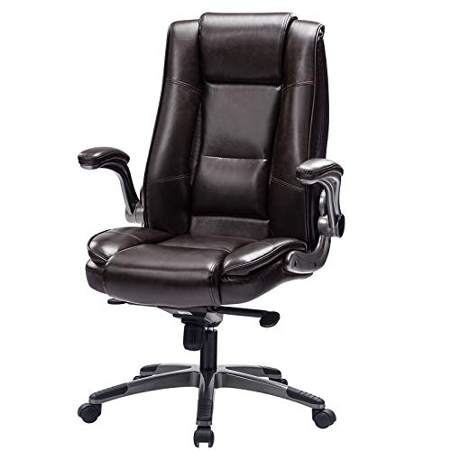 REFICCER Office Chair High Back Leather Executive Computer Desk Chair - Adjustable Tilt Angle and Flip-up Arms Swivel Chair Thick Padding for Comfort and Ergonomic Design for Lumbar Support (Brown)