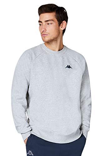 Kappa VAUKE Sweat-shirt unisexe en coton I Basic pour le sport et les loisirs I Sweater pour hommes et femmes   dans les couleurs bleu, gris, noir et tailles S, M, L, XL, XXL et XXXL - Gris - X-Large