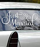 Just Married Car Decal, Car Decorations For Wedding, White 24'Wx12'H, Just Married Window Sticker