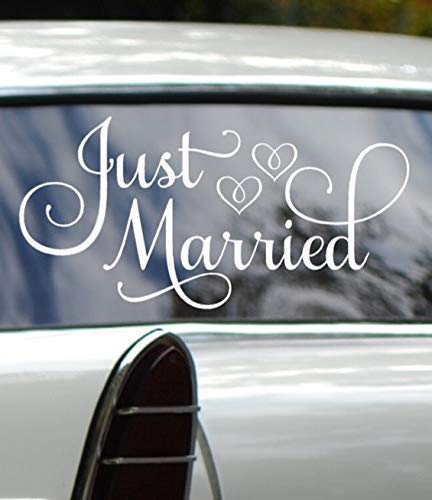 "Just Married Car Decal, Wedding Day Car Decorations, White 24""Wx12""H, Just Married Window Sticker"
