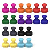 SMART&COOL 0.55 x 0.47 Inch Small Silicone Colorful Push Pin Magnets/Refrigerator Magnets, 20 Pack