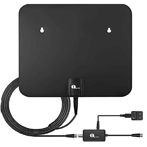 1byone TV Antenna Amplified HDTV Digital Antenna Indoor/Outdoor-Long 120+ Miles Range with Booster Signal Support 4K 1080P UHF VHF Freeview Local Channels, 26FT Coax Cable/AC Adapter
