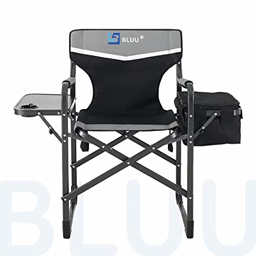BLUU Aluminum Folding Camping Chairs, Heavy Duty Camp Director Chair for Adults, Lightweight Chair with Side Table and Cooler Bag, Support 400 Lbs for Outdoor, Camp, Patio, Lawn, Garden (Black)