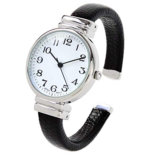 Black Snake Style Band Slim Case Eikon Women's Bangle Cuff Watch