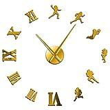 壁時計キッチンアメリカンフットボールプレーヤーDiyジャイアント壁時計ラグビーファンスポーツルームの壁の装飾モダンなデザイン大型フレームレス時計壁時計ショップレストランに適しています