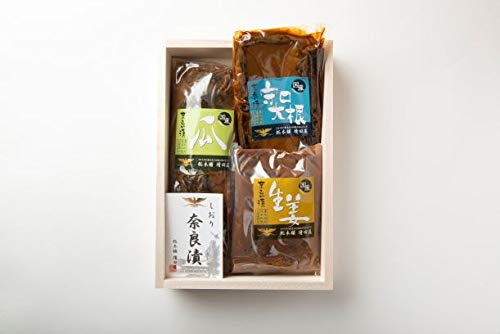 奈良漬 セット 木箱 詰め合わせ 個包装 瓜 守口大根 生姜 各一袋 紫の風呂敷包み