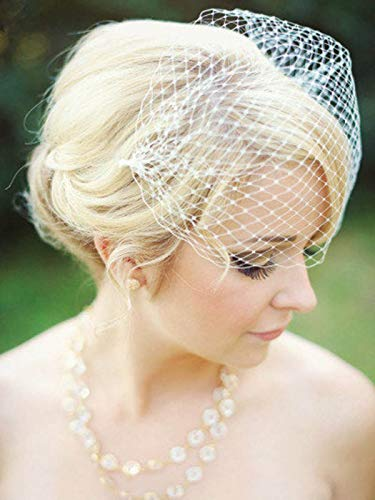 Unsutuo Weding Birdcage Veil with Boboy Pins White Bridal Veil Bandeau veil for Bride