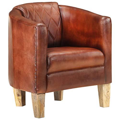 Tidyard Sillón diseño de Cubo Sillones y chaises Longues Cuero auténtico marrón