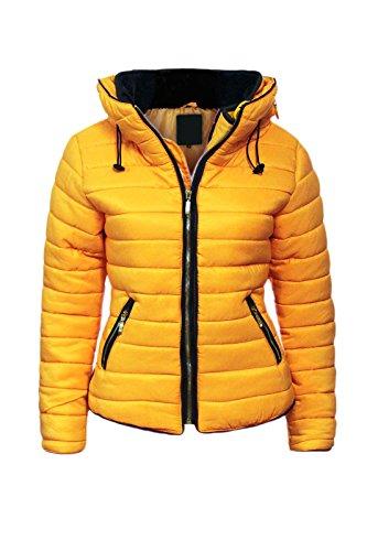 Malaika - Chaqueta para señora, acolchada, con capucha, cuello de piel, tallas grandes disponibles Amarillo Mostaza XL