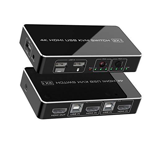 Rocketek HDMI KVM-Switch 2-Port-Box, UHD 4K (3840x2160) und 1080P 3 unterstützte Schaltmodi, 3 USB 2.0-Hub für Maus-Tastaturdrucker-PCs mit 1 Switch-Kabel und 2 USB-Kabeln