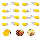 Foxtop Stainless Steel Corn Holders with Silicone Handle - Interlocking Jumbo Corn Forks